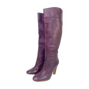 ALDO Wide Calf Purple Pebbled Leather Heeled Boots